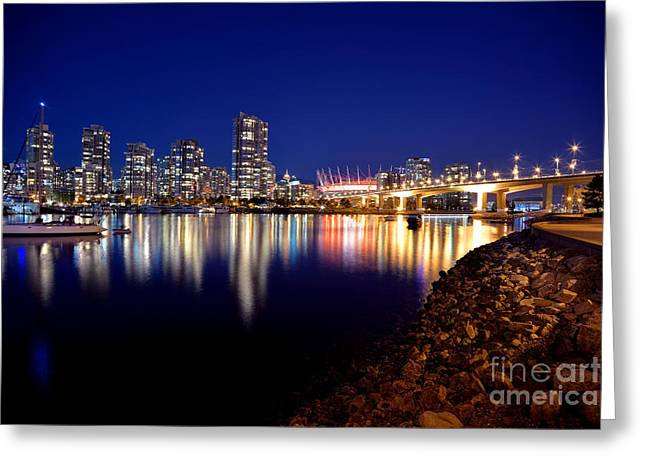 Cambie Bridge Greeting Cards - False Creek After Sunset Greeting Card by Terry Elniski