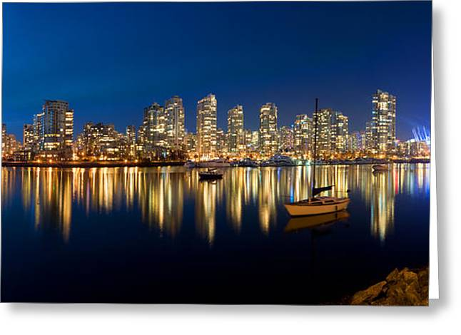 Vancouver Skyline Panorama Greeting Cards - False Creek At Dusk Ii Greeting Card by Terry Elniski