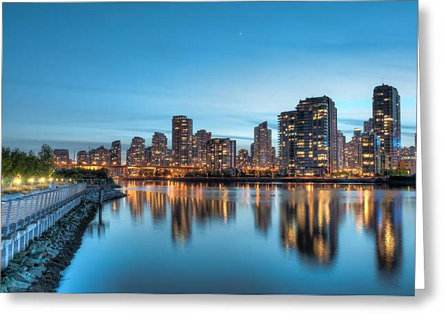 Cambie Bridge Greeting Cards - False Creek at night Greeting Card by Michelle Lee