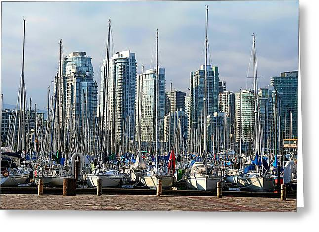 Yaletown Greeting Cards - False Creek in the Summer Greeting Card by Adam Rozsa