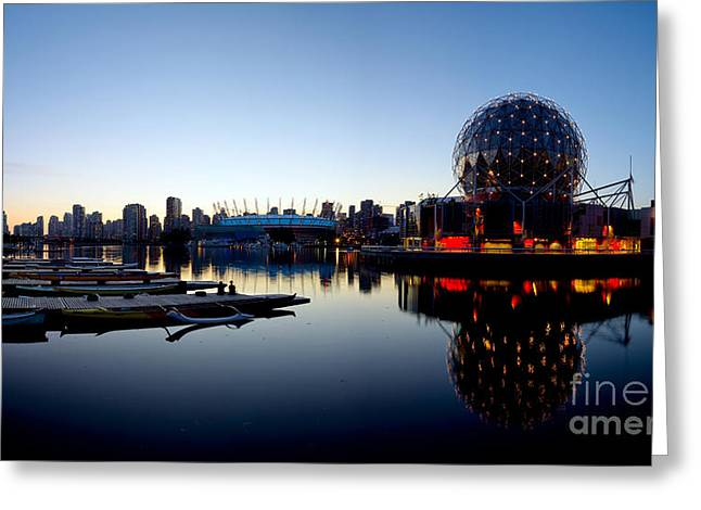 Telus Greeting Cards - False Creek Sunset Panorama Greeting Card by Terry Elniski