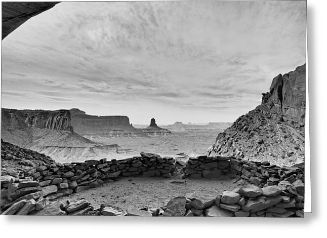 The Plateaus Greeting Cards - False Kiva in BW - Canyonlands National Park Moab Utah Greeting Card by Silvio Ligutti