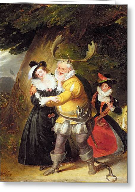 Falstaff Greeting Cards - Falstaff At Hernes Oak From The Merry Wives Of Windsor, Act V, Scene V, 1832 Oil On Panel Greeting Card by James Stephanoff