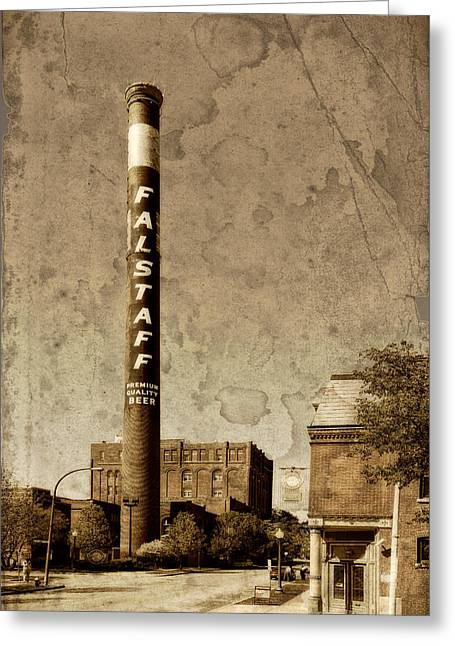 Falstaff Greeting Cards - Falstaff Smoke Stack St Louis DSC03700 Greeting Card by Greg Kluempers