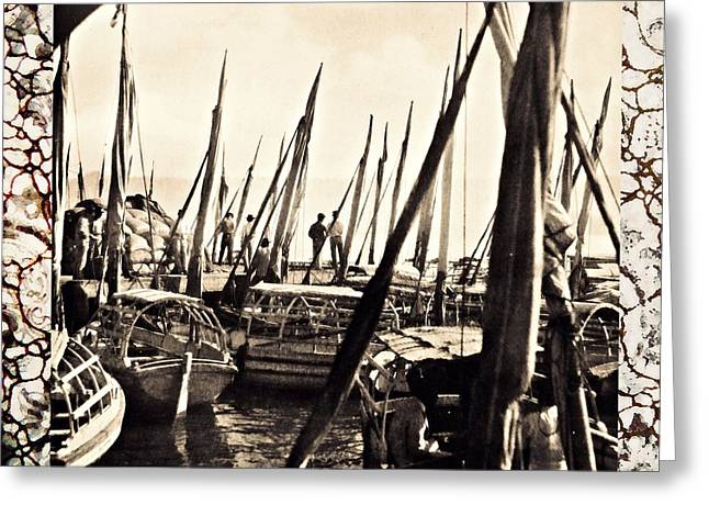 Boats In Harbor Greeting Cards - Falucas in Havana Harbor in 1898 2 Greeting Card by William B Townsend