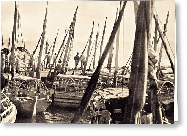Boats In Harbor Digital Art Greeting Cards - Falucas in Havana Harbor in 1898 Greeting Card by William B Townsend