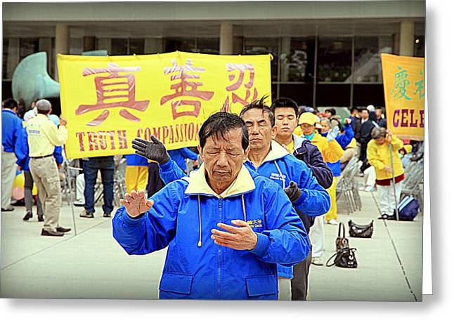 Human Interest Greeting Cards - Falun Gong Supporters Greeting Card by Valentino Visentini