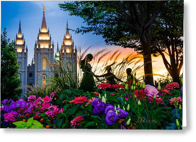 Mormon Temple Photography Greeting Cards - Families Are Forever Greeting Card by La Rae  Roberts