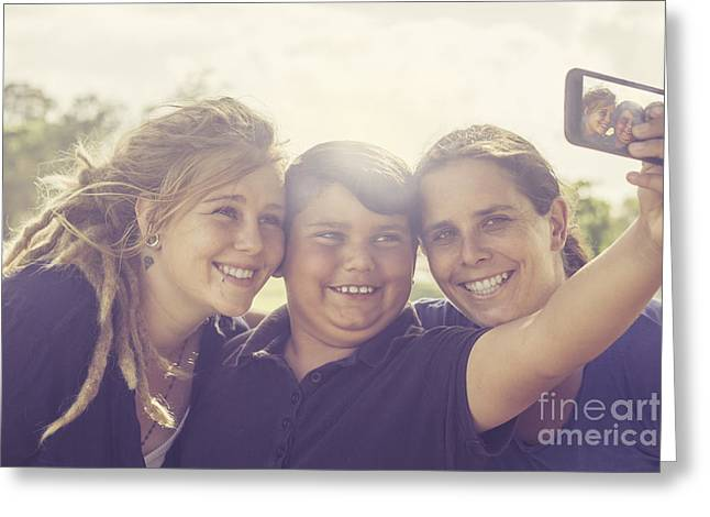 Self Love Greeting Cards - Families with tech gadgets Greeting Card by Ryan Jorgensen