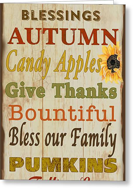 Harvest Art Greeting Cards - Family and Friends Blessings-A Greeting Card by Jean Plout