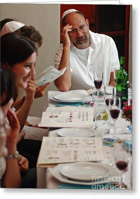 Goblet Greeting Cards - Family around the sedder table Greeting Card by Ilan Rosen