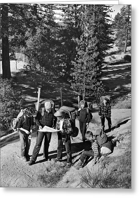 Cooperation Greeting Cards - Family Backpacking Trip Greeting Card by Underwood Archives