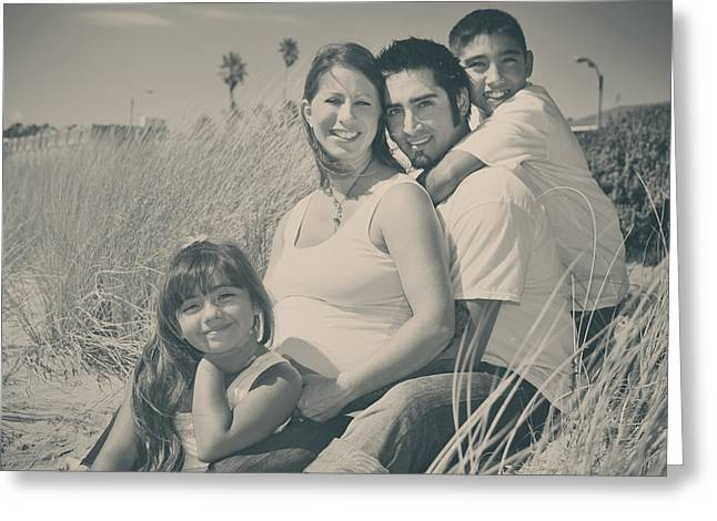Outdoor Portrait Greeting Cards - Family Beach Day Greeting Card by Laurie Search