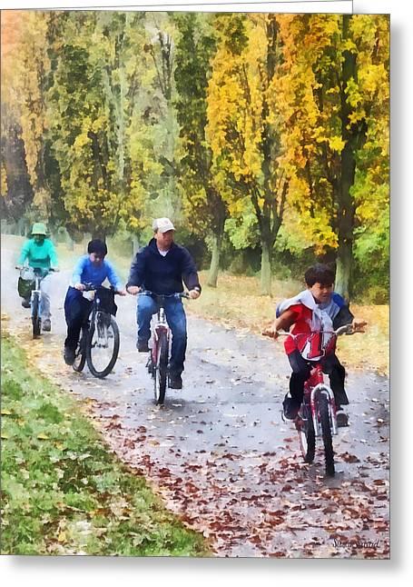 Bicycle Greeting Cards - Family Bike Ride Greeting Card by Susan Savad