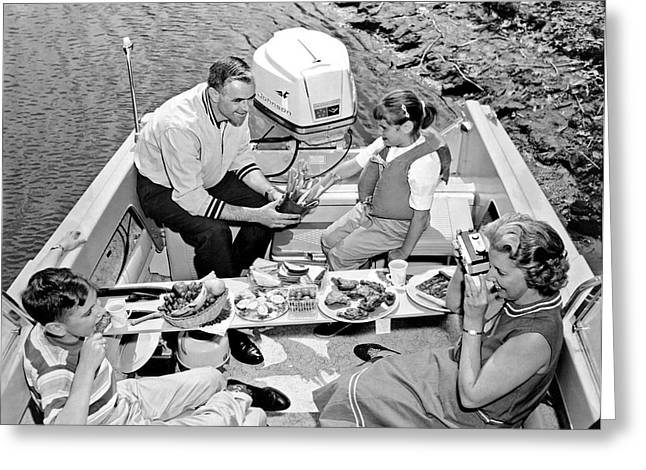 Family Boating Lunch Greeting Card by Underwood Archives