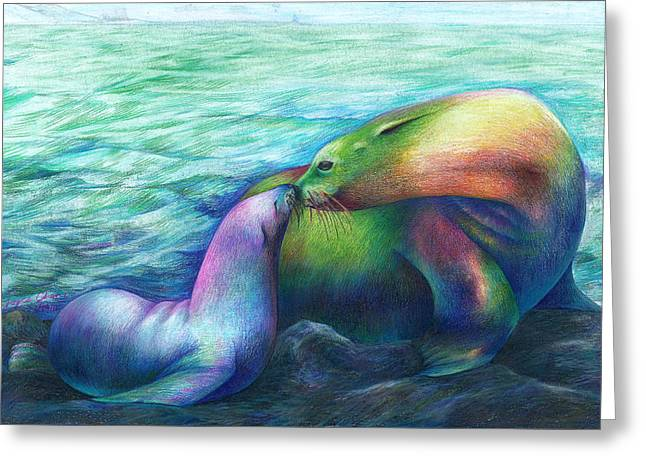 Sea Lions Drawings Greeting Cards - Family by Joyce Chen Greeting Card by California Coastal Commission