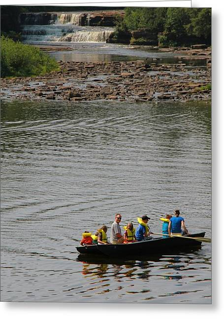 Canoe Waterfall Greeting Cards - Family Canoeing At Lower Tahquamenon Falls Greeting Card by Dan Sproul