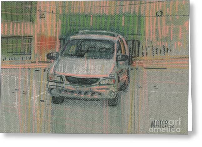 Family Car Greeting Card by Donald Maier