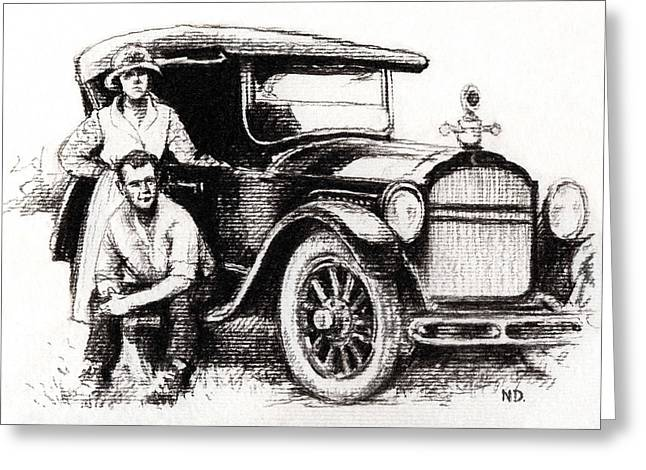 First Love Drawings Greeting Cards - Family Car Greeting Card by Natasha Denger