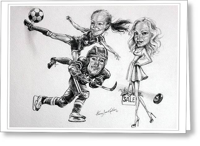 Player Drawings Greeting Cards - Family Caricature Greeting Card by Hanne Lore Koehler