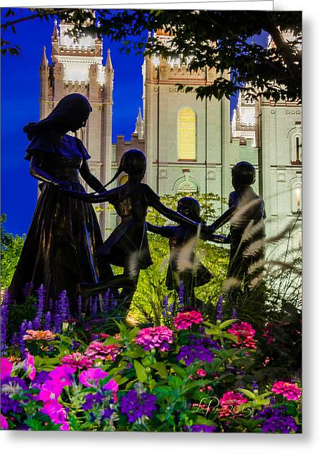 Salt Lake City Temple Greeting Cards - Family Circle Temple Greeting Card by La Rae  Roberts