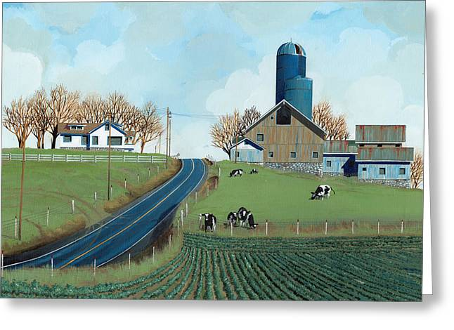 Silo Greeting Cards - Family Dairy Greeting Card by John Wyckoff