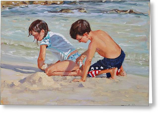 Boys And Girls Greeting Cards - Family Day Greeting Card by Laura Lee Zanghetti