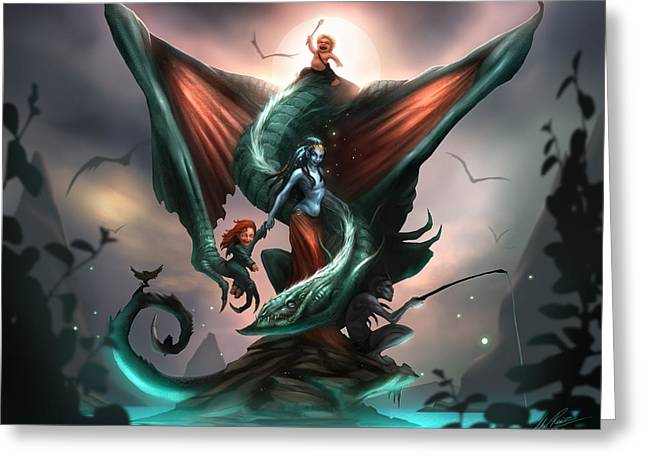 Concept Art Greeting Cards - Family Dragon Greeting Card by Alex Ruiz