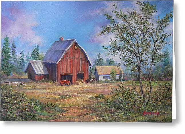 Air Tractors Greeting Cards - Family Farm  Greeting Card by Gracia  Molloy