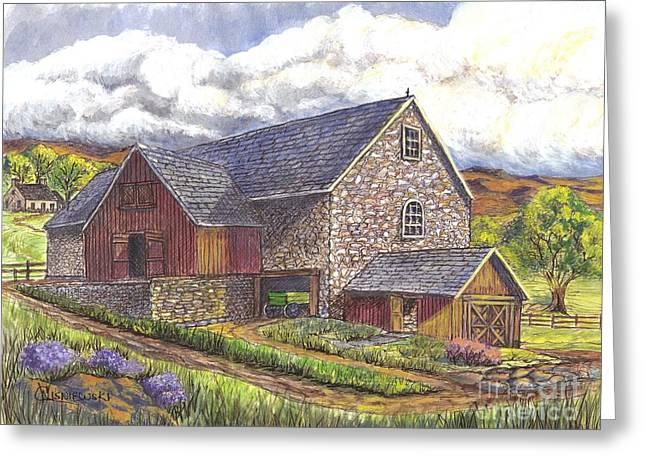 Old Barn Drawing Greeting Cards - A Scottish Farm pen ink wc Greeting Card by Carol Wisniewski