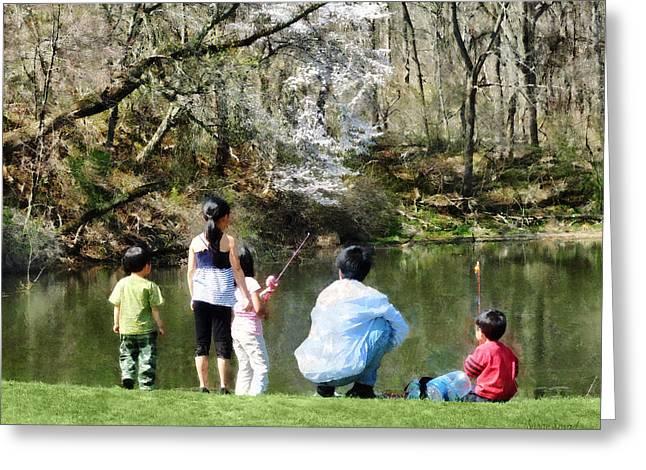 Family Fishing Greeting Card by Susan Savad