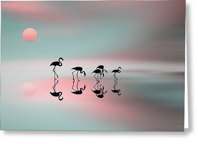 Family Flamingos Greeting Card by Natalia Baras