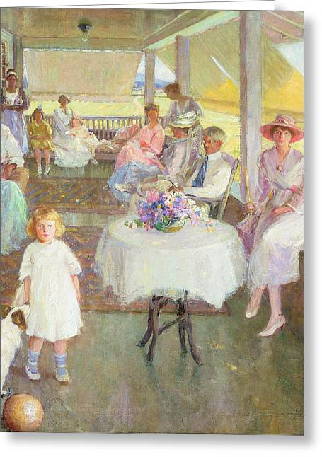 Leisure Greeting Cards - Family Gathering, 1919 Greeting Card by Pauline Palmer