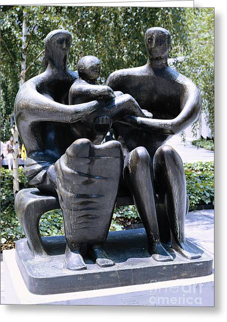 Modern Art Greeting Cards - Family Group By Henry Moore Greeting Card by Bedrich Grunzweig