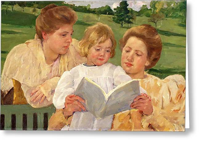 Cassatt Paintings Greeting Cards - Family Group Reading Greeting Card by Mary Stevenson Cassatt