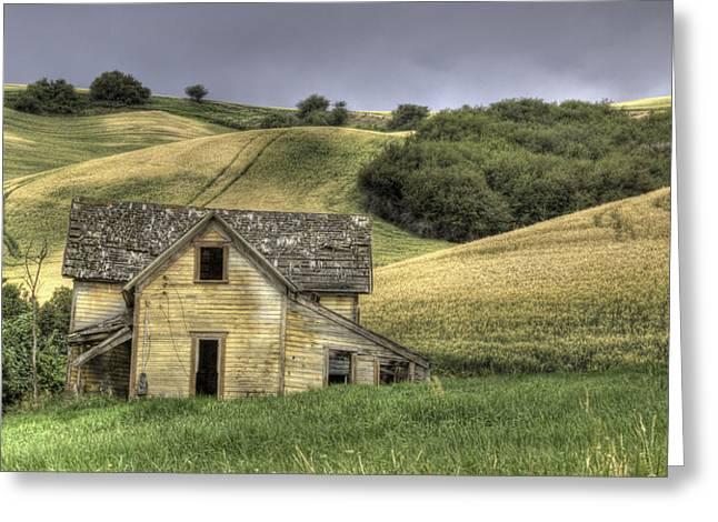 Gray Sky Greeting Cards - Family House Greeting Card by Latah Trail Foundation