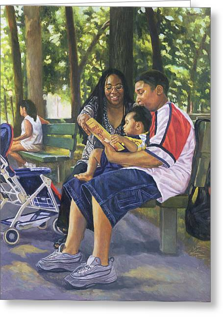 Contemporary Art Paintings Greeting Cards - Family in the Park Greeting Card by Colin Bootman