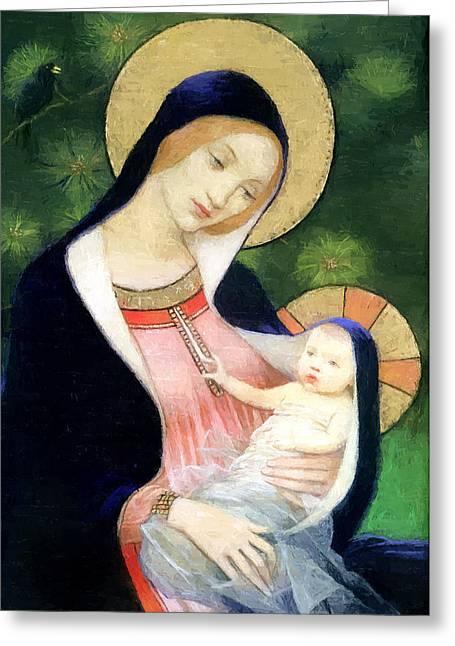 Jesus Christ Icon Greeting Cards - Family Love Greeting Card by Munir Alawi