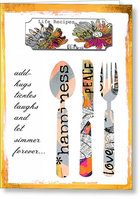 Kitchen Licensing Mixed Media Greeting Cards - Family Love Recipes Greeting Card by Anahi DeCanio