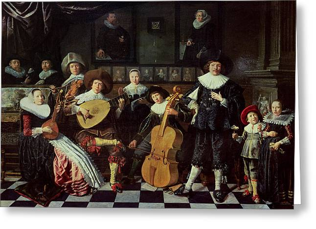 Ruff Greeting Cards - Family Making Music Oil On Panel Greeting Card by Jan Miense Molenaer