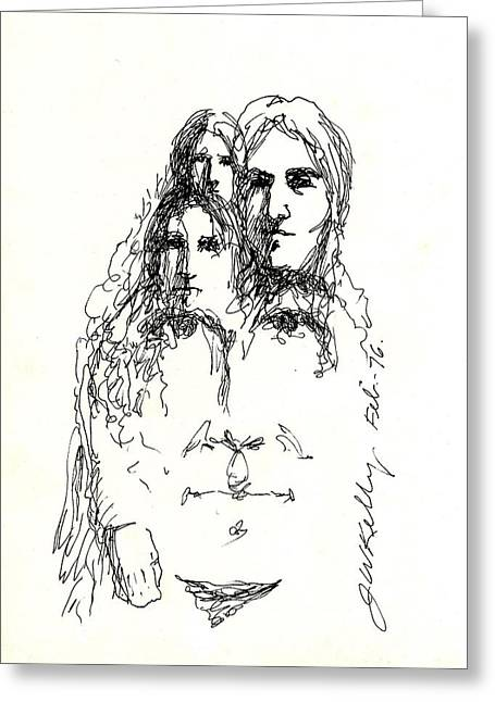 Loose Drawings Greeting Cards - Family Man Greeting Card by J W Kelly
