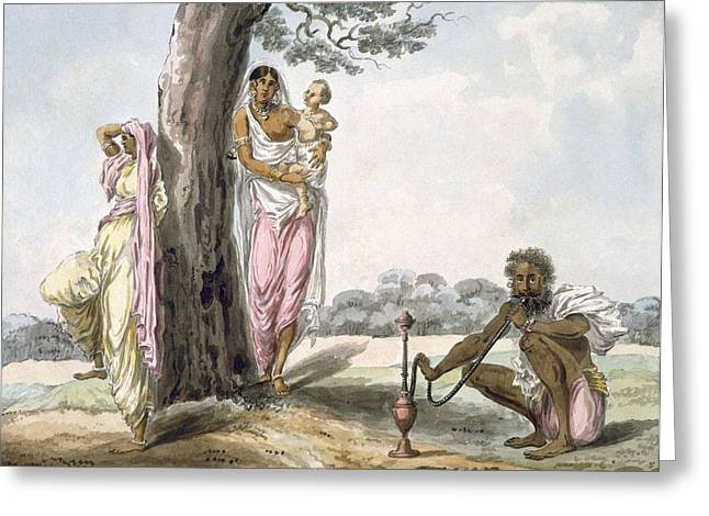 Indian Drawings Greeting Cards - Family Man Smoking A Hookah And Girl Greeting Card by Indian School