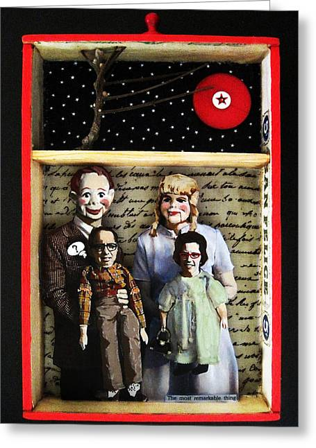 Found-object Greeting Cards - FAMILY mixed media collage original art Greeting Card by Linda Apple