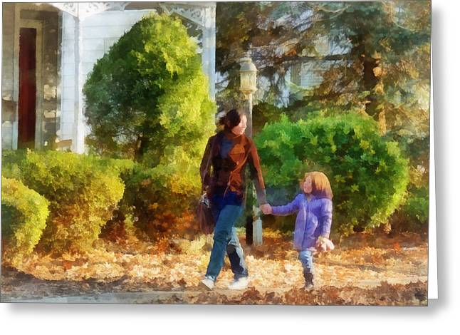Family - Mother And Daughter Taking A Stroll Greeting Card by Susan Savad