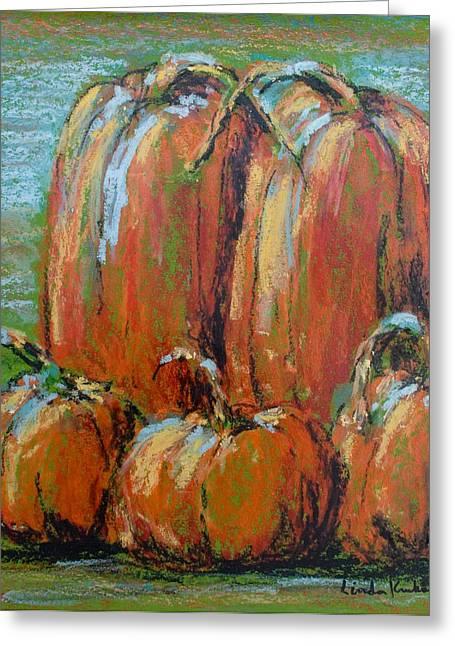 Pumpkins Pastels Greeting Cards - Family Of Five Greeting Card by Linda Krukar