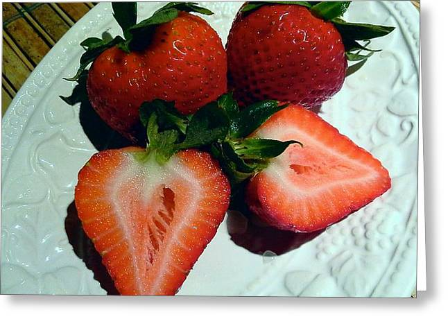 Strawberry Pyrography Greeting Cards - Family of Hearts Greeting Card by Pamela Blayney
