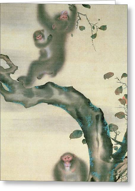 Picking Greeting Cards - Family Of Monkeys In A Tree Ink & Wc On Paper Greeting Card by Japanese School