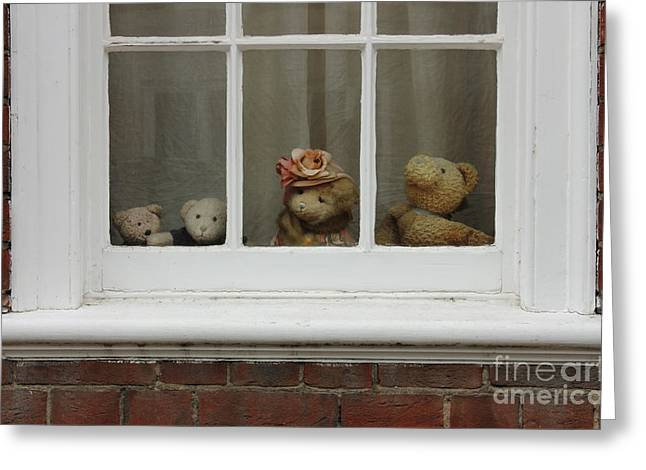 Teddybear Greeting Cards - Family of teddy bears on the window. Greeting Card by Kiril Stanchev