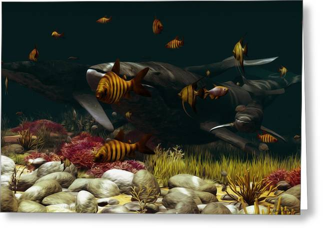 Oceano Greeting Cards - Family of Whales Greeting Card by Ramon Martinez
