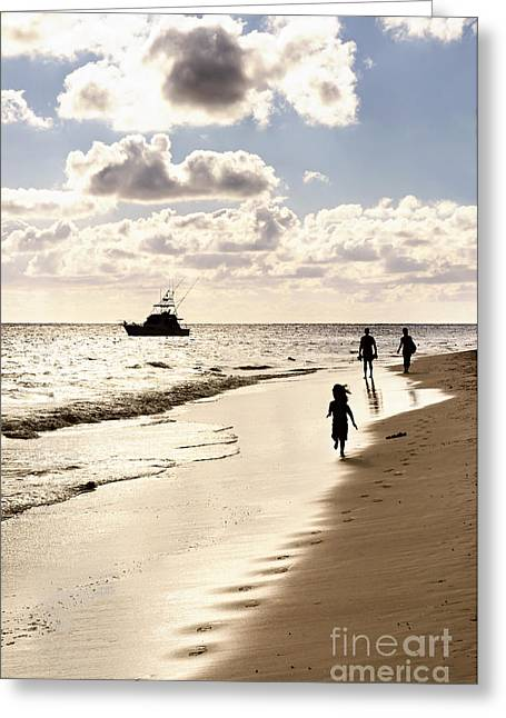 Family Walks Greeting Cards - Family on sunset beach Greeting Card by Elena Elisseeva